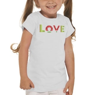 Love Kiwi & Watermelon Typo Girl's White T-shirt