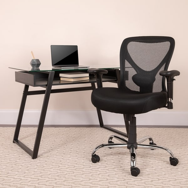 Shop Big Tall 400 Lb Rated Black Mesh Swivel Ergonomic Task Office Chair On Sale Overstock 10125223