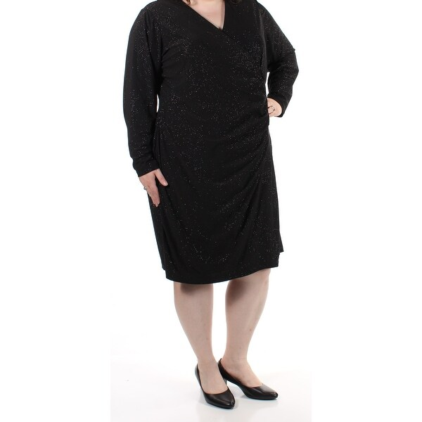 86e75be4 Shop CALVIN KLEIN Womens Black Glitter Ruched Speckle Long Sleeve V Neck  Knee Length Faux Wrap Cocktail Dress Plus Size: 20 - Free Shipping On  Orders Over ...