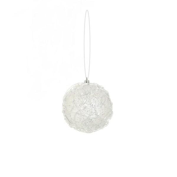 "4"" Winter Light Clear Glittered Shatterproof Christmas Ball Ornament"