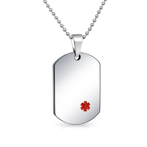 Shop bling jewelry medical id dog tag pendant stainless steel bling jewelry medical id dog tag pendant stainless steel necklace 20 inches aloadofball Gallery