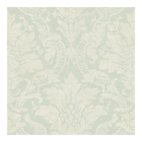 Cynthia Blue Distressed Damask Wallpaper - 396in x 20.5in 0.25in