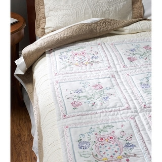 """Stamped Embroidery Quilt Blocks 15""""X15"""" 6/Pkg-Owl"""