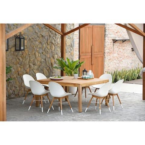 Amazonia Teak Bonita White 9-piece Square Sidechair Patio Dining Set