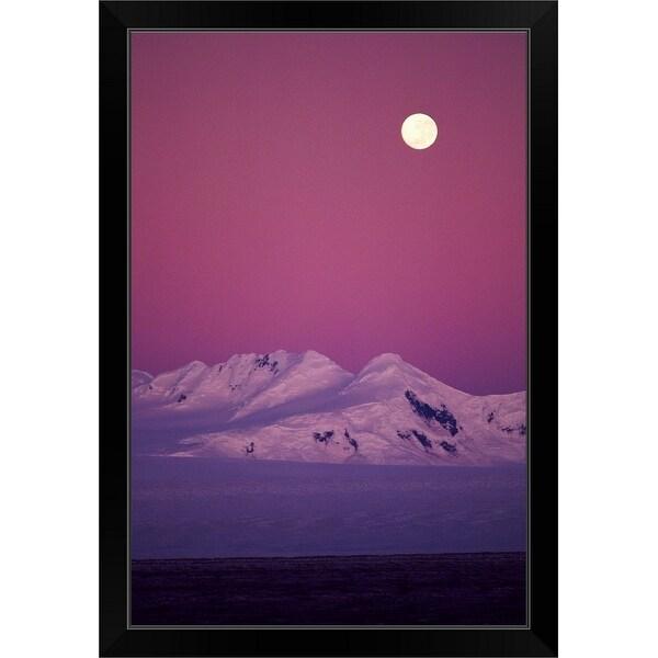 """""""Moonrise over snowy mountain"""" Black Framed Print"""