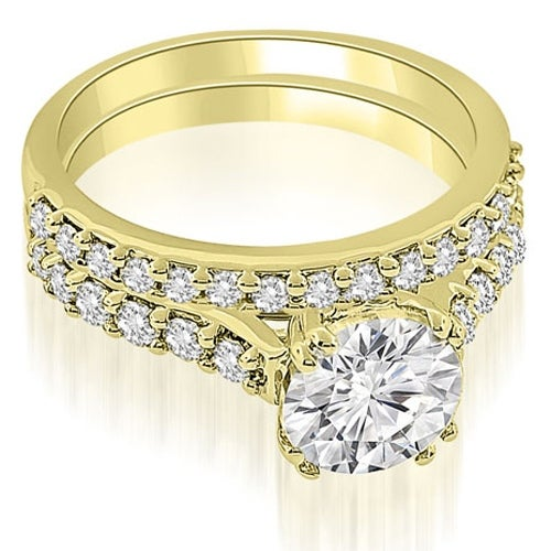 1.55 cttw. 14K Yellow Gold Cathedral Round Cut Diamond Bridal Set