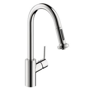 Hansgrohe 4286 Talis S Pull-Down Prep Faucet with High-Arc Spout, Magnetic Docking, & Non-Locking Spray Diverter - Includes