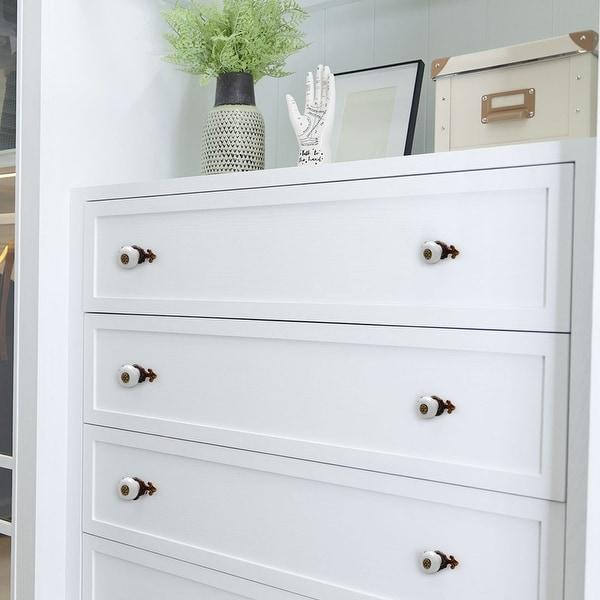 Ceramic Vintage Knobs Drawer Pull Handle Cupboard Wardrobe Dresser Door White