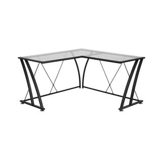Offex Glass L-Shape Computer Desk with Black Frame Finish