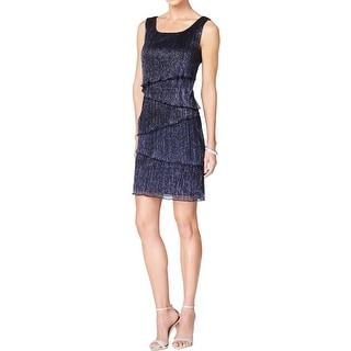 Connected Apparel Womens Petites Cocktail Dress Metallic Sleeveless