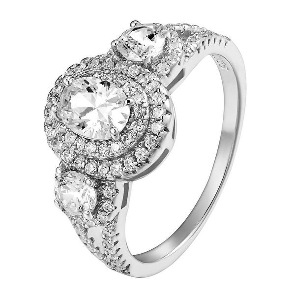 Oval Cut Solitaire Ring Sterling Silver Simulated Diamond Wedding Engagement