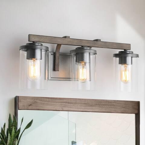 LNC Antique 3-light Faux Wood Bathroom Vanity Light Wall Sconces