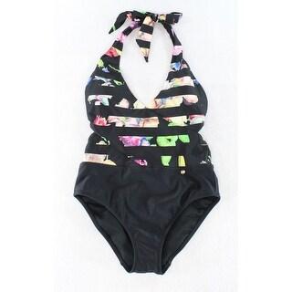 Ted Baker NEW Black Women's Size 2 Striped Floral One-Piece Swimwear