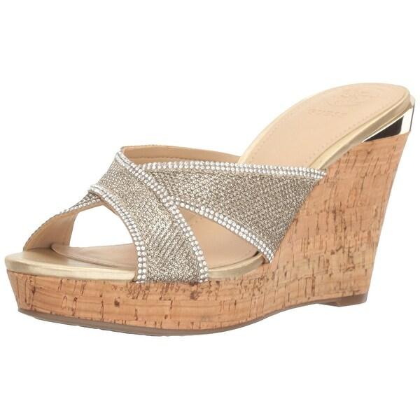 GUESS Womens Eleonora4 Leather Open Toe Special Occasion Platform Sandals