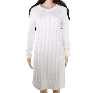 Calvin Klein NEW White Off Women's Medium M Cable Knit Sweater Dress