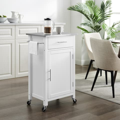 "Savannah Stainless Steel Top Compact Kitchen Island/Cart - 37""H x 22.25""W x 15.75""D"