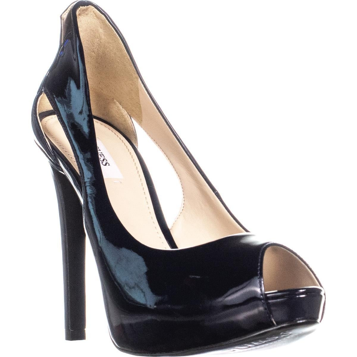 Black Patent Leather Guess Peep Toe Heels