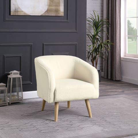 HomePop Sherpa Accent Chair with Wood Legs - Cream