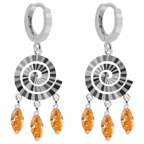 Cubic Zirconia Sterling Silver Marquise Dangle Earrings by Orchid Jewelry