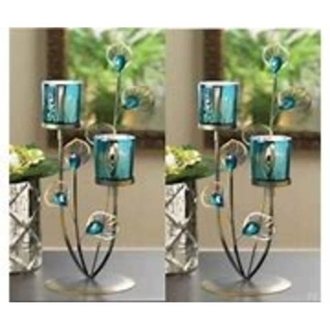 Set of 2 Peacock Plume Candleholders - Turquoise