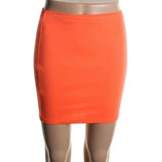 Aqua Womens Ponte Colored Mini Skirt - M