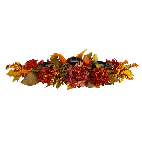 "32"" Fall Hydrangea, Lotus Seed and Berries Artificial Candelabrum Arrangement"