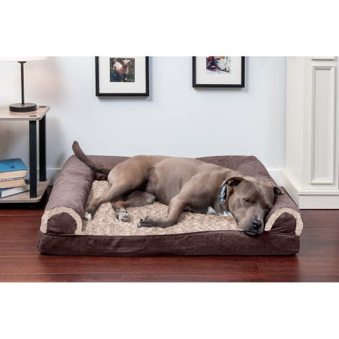 FurHaven Two-Tone Faux Fur & Suede Orthopedic Sofa Dog Bed
