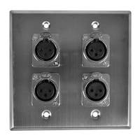 Seismic Audio Stainless Steel Wall Plate - 2 Gang with 4 XLR Female Connectors