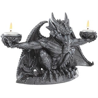 Design Toscano Halloween  Judging the Darkness Dragon Candleholder: Set of Two