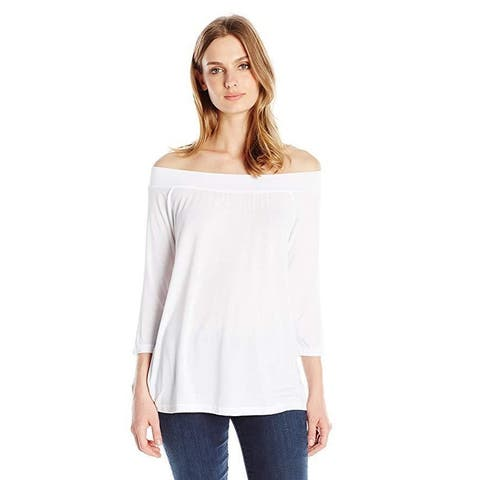 Michael Stars Women's Jersey Lycra Off Shoulder Top, White, One Size