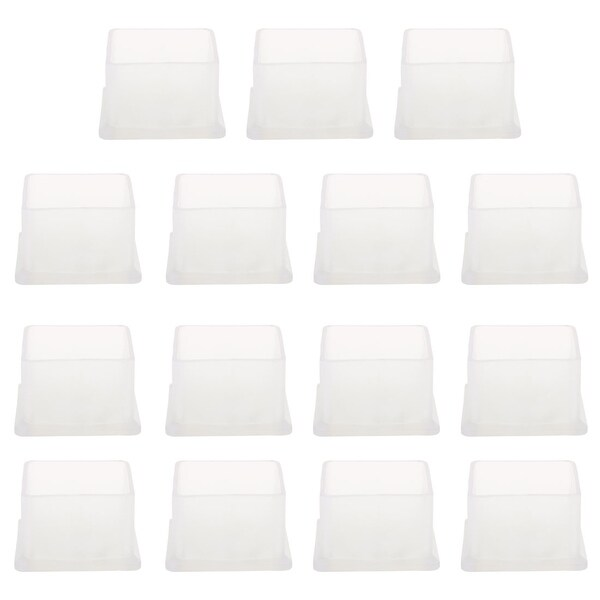 "Clear PVC Chair Leg Caps End Tip Feet Cover Furniture Glide Floor Protector 15pcs 0.79"" x 0.79"" (20x20mm) Inner Size"