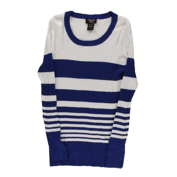 Hooked Up Womens Pullover Sweater Ribbed Knit Striped