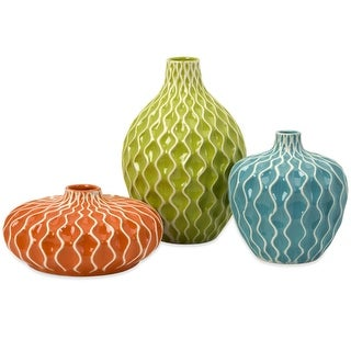 """Set of 3 Fun and Colorful Flower Vases with Wave Embossed Design 11.5"""""""