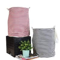 G Home Collection Black and Red Line Fabric Laundry Basket with Handles (Set of 2)