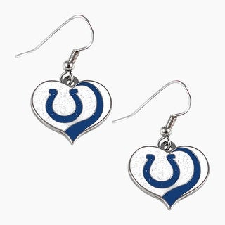 Indianapolis Colts NFL Glitter Heart Earring Swirl Charm Set