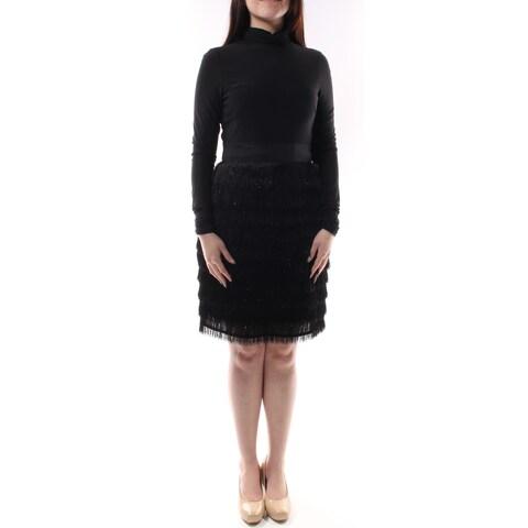 VINCE CAMUTO $188 1513 Black Turtle Neck , Fringed Sheath Party Dress 2 B+B