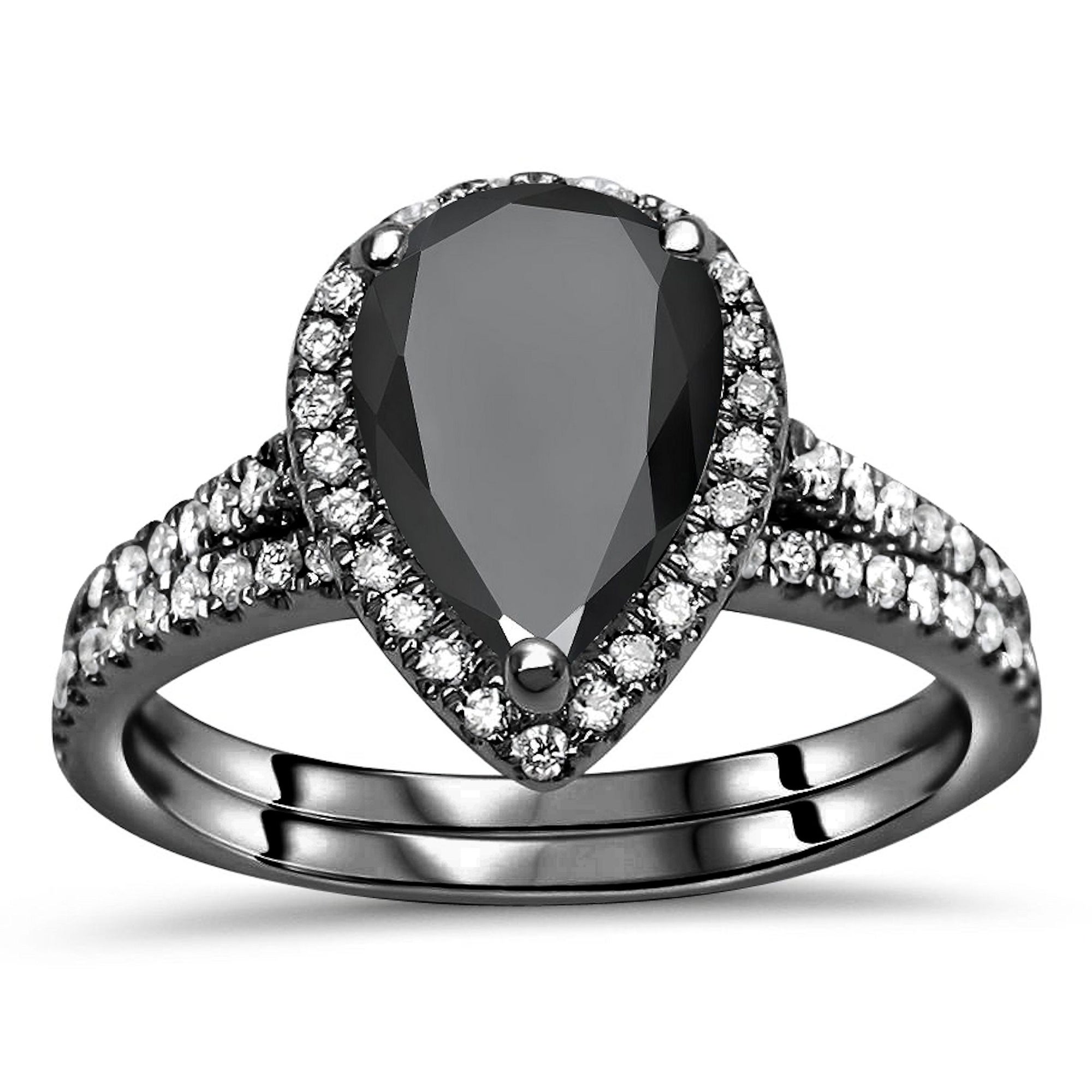 2 to 10 Carat Options Excellent Shine /& Luster ! Pear Cut  Black Diamond Ring in Black Gold Finish