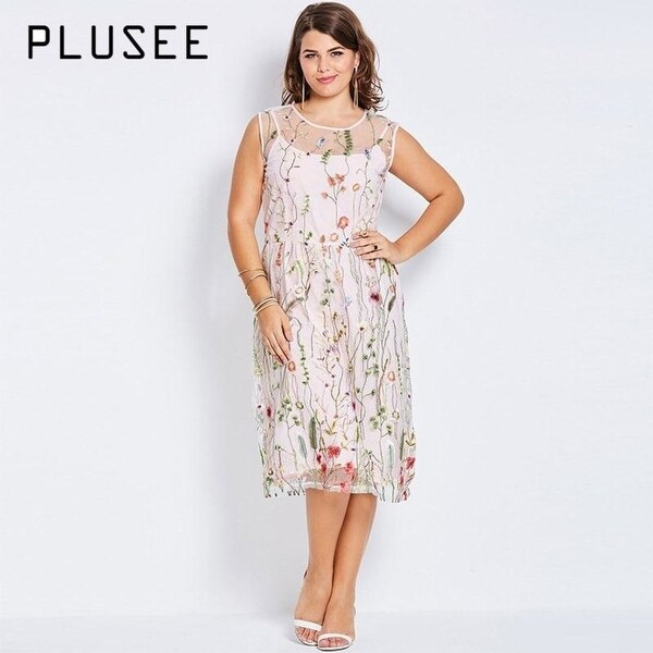 06bebc0e3f6e Shop Plusee Plus Size Bohemian Women Boho 2017 Pink Hot Floral Embroidery  Summer Party Gown Large Size Dress 4Xl Plus Size Dresses - Free Shipping  Today ...