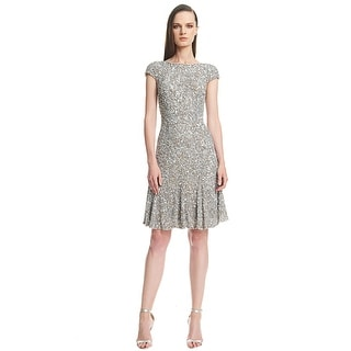 Theia Cap Sleeve Crunchy Allover Sequined Cocktail Evening Dress - 14