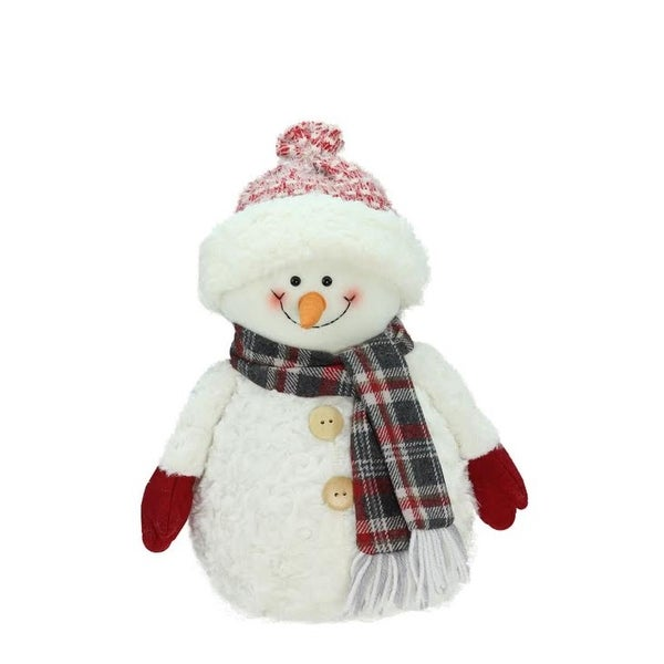 """13"""" Smiling Snowman with Knit Hat Christmas Tabletop Decoration - WHITE"""