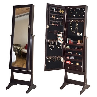 Costway Lockable Mirrored Jewelry Cabinet Armoire Organizer Storage w/Stand & LED Lights
