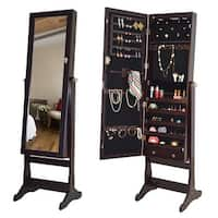 Costway Lockable Mirrored Jewelry Cabinet Armoire Organizer Storage w/Stand & LED Lights - Brown