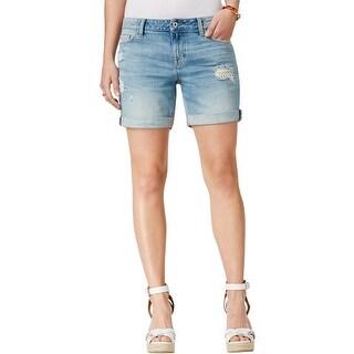 Tommy Hilfiger Womens Denim Shorts Distressed Denim