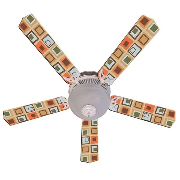 Tan Bright Mod Squares Print Blades 52in Ceiling Fan Light Kit - Multi