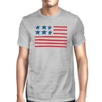 USA Flag Mens Grey Round Neck Tee Unique American Flag Graphic Tee