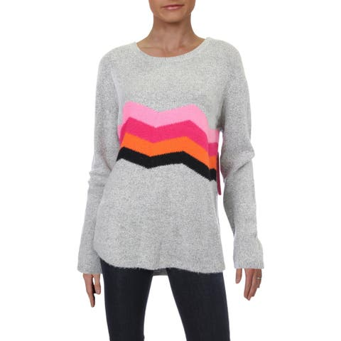 RD Style Womens Pullover Sweater Chevron Striped - Grey