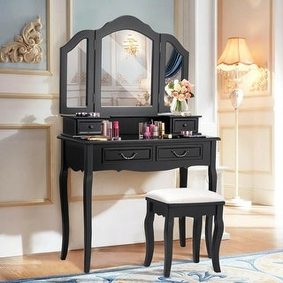 Costway Tri Folding Mirror bathroom Wood Vanity Set Makeup Table Dresser 4 Drawers + Stool
