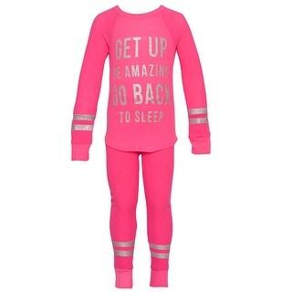 Little Girls Fuchsia Silver Glitter Letter Stripe Print 2 Pc Pajama Set (2 options available)