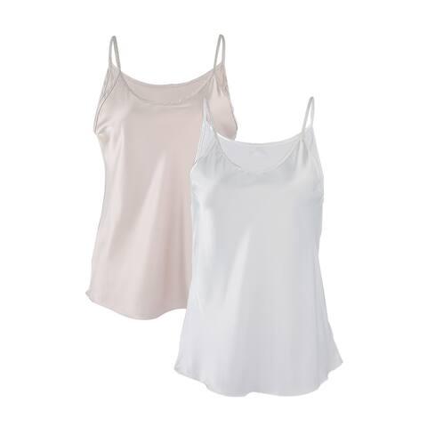 Women Plain Slim Fit Spagetti Straps Satin Cami Tank Tops White Cream - White+Cream