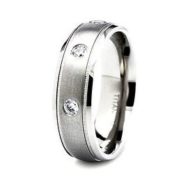 7mm Satin Finished Titanium Ring with 3 CZs (Sizes 6-12)